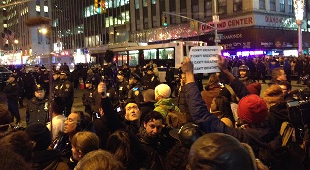 Eric Garner protests erupt on Manhattan's streets on Wednesday night (Photo credit: Jana Quigley)
