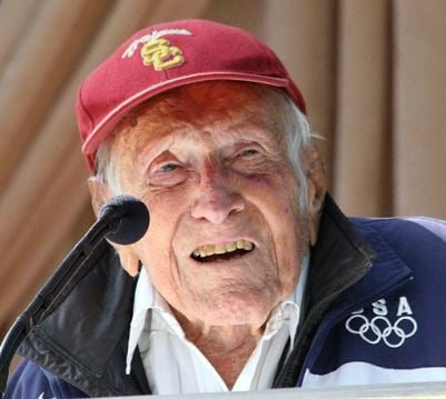 "Louis Zamperini, who died earlier this year, worked with director Angelina Jolie to tell his story of survival -- and faith in God -- in the upcoming film,""Unbroken."" Photo by Floatjon via Wikimedia Commons (http://bit.ly/1moNF5I)"