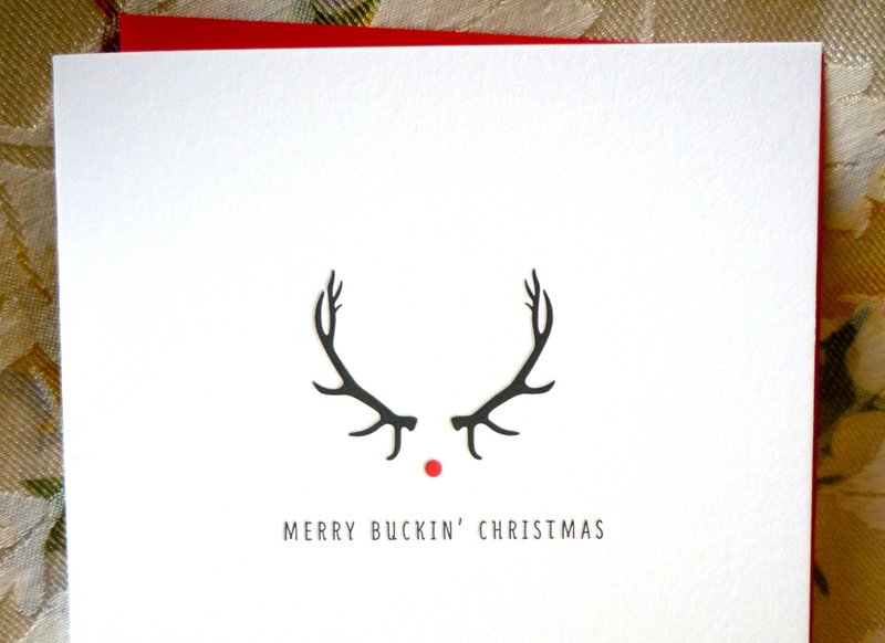"""Merry Buckin' Christmas"" card, photo by Kimberly Winston."