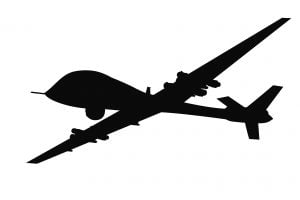 An illustration of an unmanned military drone