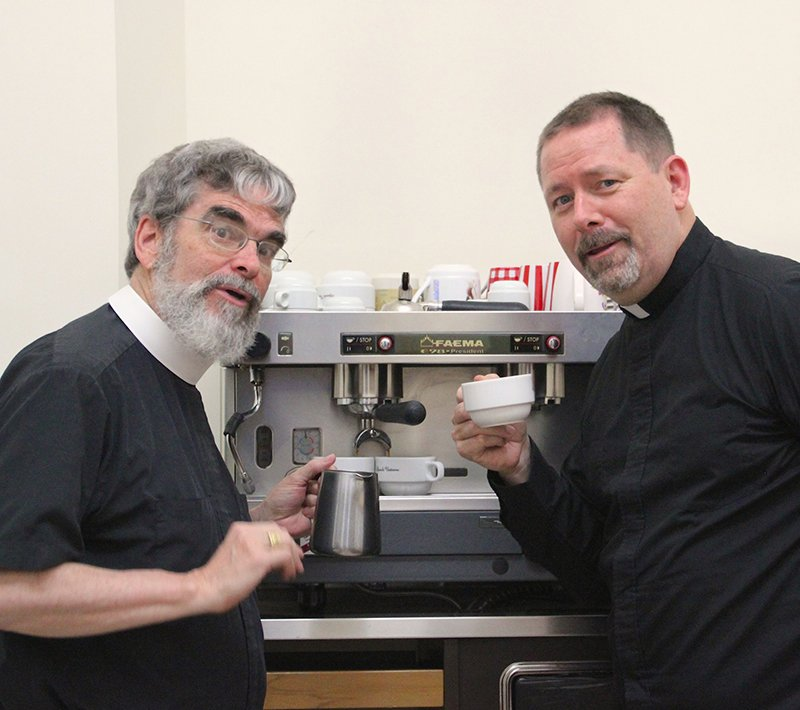 """Brother Guy Consolmagno, left, and Paul Mueller, co-author a new book titled, """"Would You Baptize an Extraterrestrial?"""" Photo courtesy of Brother Guy Consolmagno and Paul Mueller"""