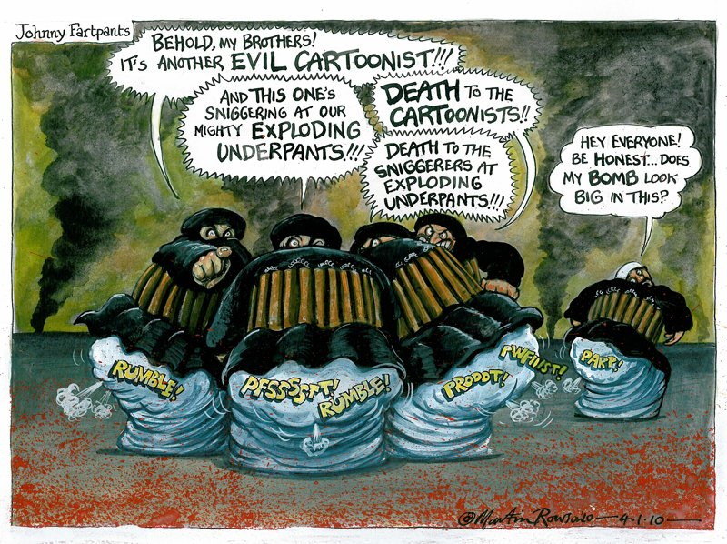 A political cartoon by Martin Rowson that appeared in The Guardian in January 2010. Photo courtesy of Martin Rowson