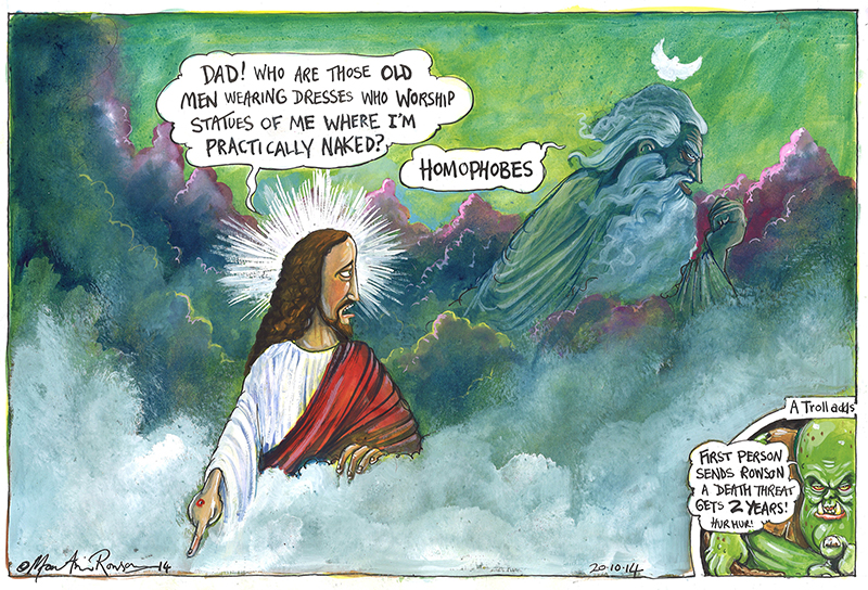 One of Martin Rowson's cartoons depicting Jesus and God in the clouds. Photo courtesy of Martin Rowson