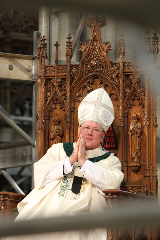 Cardinal Timothy M. Dolan of New York presides at a St. Patrick's Day Mass at St. Patrick's Cathedral in New York March 17, 2014. Religion News Service photo by Gregory A. Shemitz