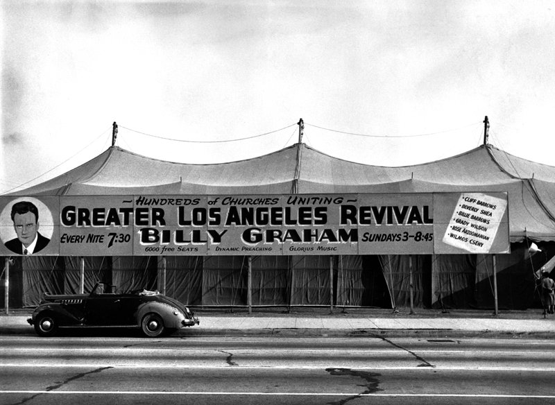 "*ATTN: DO NOT PUBLISH THIS PHOTO!* Billy Graham's 1949 Los Angeles evangelism campaign started small, in a rented circus tent, but grew into a life changing event for Graham -- propelling him onto the national stage. Photo courtesy of the Billy Graham Evangelistic Association *Note to Eds: This photo can ONLY be republished with the story ""RNS-GRAHAM-LA"" written by Cathy Grossman and published on December 9, 2014."