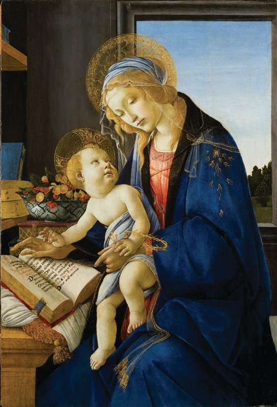 Sandro Botticelli (Alessandro Filipepi), Madonna and Child (Madonna col Bambino),  also called Madonna of the Book (Madonna del Libro), 1480–81;  Tempera and oil on wood panel, 22 7/8 • 15 5/8 in.; Museo Poldi Pezzoli, Milan; inv. 443. Photo courtesy of National Museum of Women in the Arts