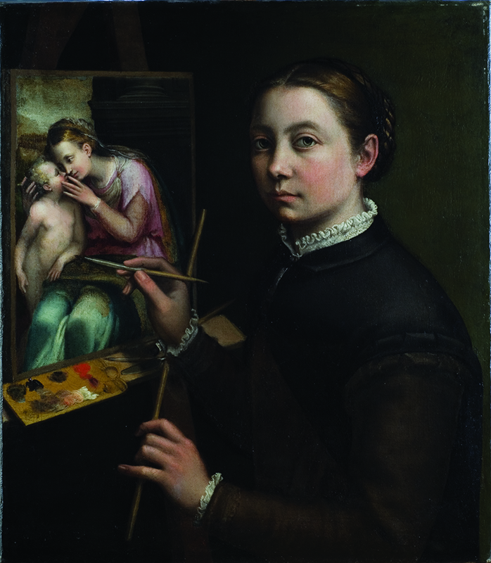 Sofonisba Anguissola, Self-Portrait at the Easel, 1556; Oil on canvas, 26 × 22 3/8 in.; Muzeum-Zamek, Łańcut; inv. 916MT. Photo courtesy of National Museum of Women in the Arts
