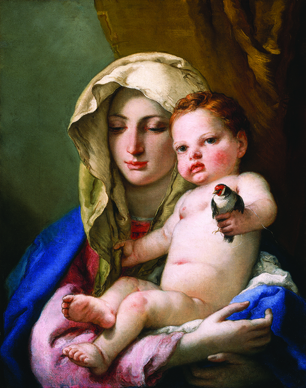 Giovanni Battista Tiepolo, Madonna of the Goldfinch, ca. 1767–70; Oil on canvas, 24 13/16 × 19 13/16 in.; National Gallery of Art, Washington, D.C.; Samuel H. Kress Collection; inv. 1943.4.40. Photo courtesy of National Museum of Women in the Arts