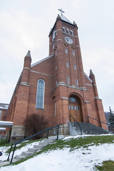 St. John the Baptist Catholic Church, known as The Church of the Turnpike, sits on a hill overlooking the village of New Baltimore, Pennsylvania. Photo by Richard Dedo.