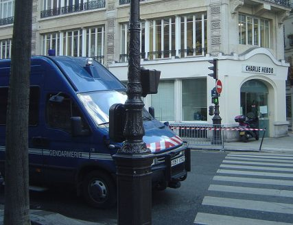 Police vehicles were placed outside of the Charlie Hebdo building in 2006 to prevent possible protest over a cartoon.