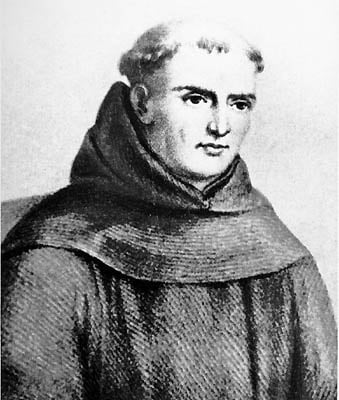 Oil painting of Father Junípero Serra from the 1700's.
