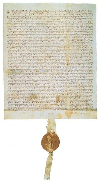 The 1297 version of Magna Carta, one of four originals of the document.