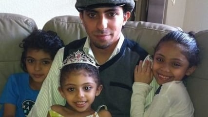 Raif Badawi with his children. Photo courtesy of Center for Inquiry.