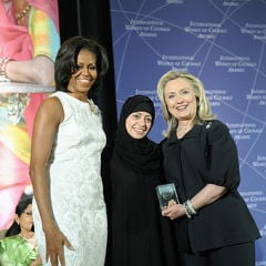 Samar Badawi with Hillary Clinton and Michelle Obama in 2012. Photo via Wikimedia Commons.