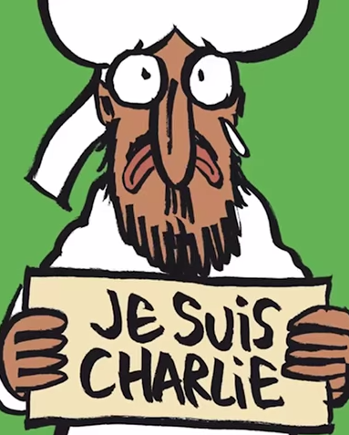 Screenshot of Charlie Hebdo cover illustration.