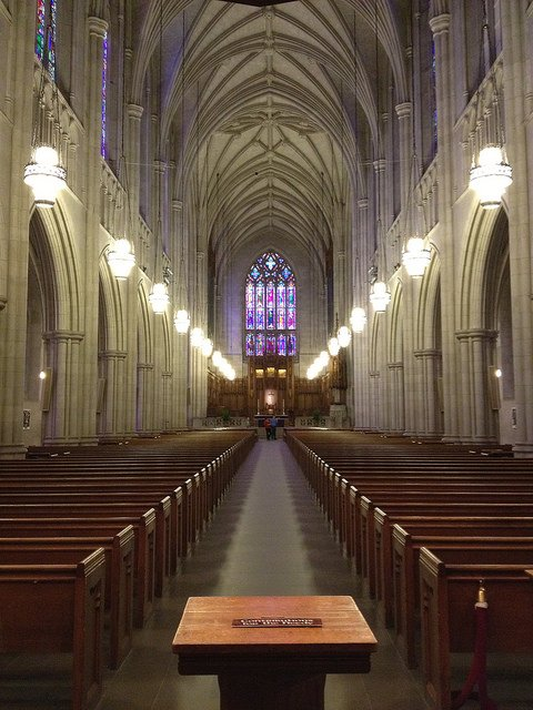 Duke Chapel is a nondenominational Christian church that hosts Catholic and Protestant worship services, as well as Friday prayers for Muslim students. Photo by uneek78/Flicr.
