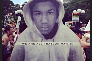 A poster showing Trayvon Martin, a 17-year-old African American from Miami Gardens, Fla., who was fatally shot in 2012. He was wearing a hoodie.