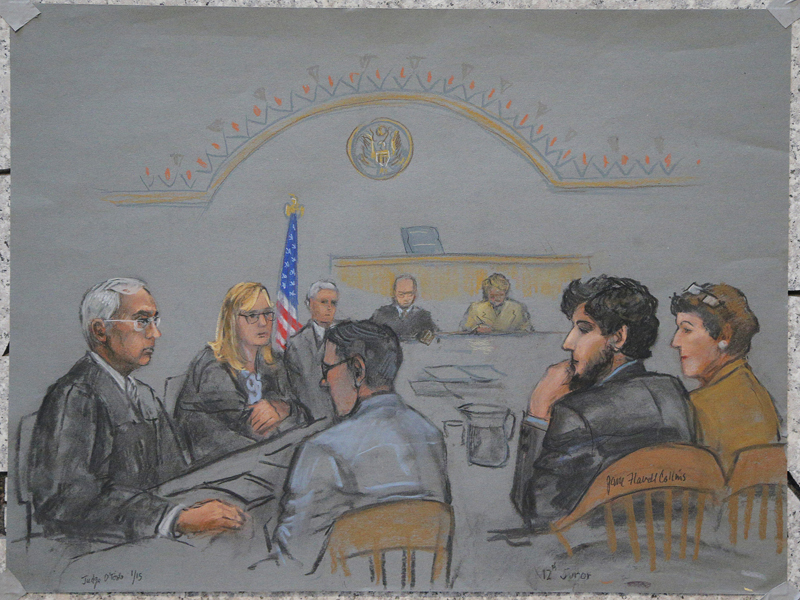 A courtroom sketch shows Boston Marathon bombing suspect Dzhokhar Tsarnaev (2nd R) during the jury selection process in his trial at the federal courthouse in Boston, Massachusetts on January 15, 2015. Photo courtesy of REUTERS/Jane Flavell Collins *Note: This photo may ONLY be republished with RNS-BOSTON-JURY, originally published on January 26, 2015