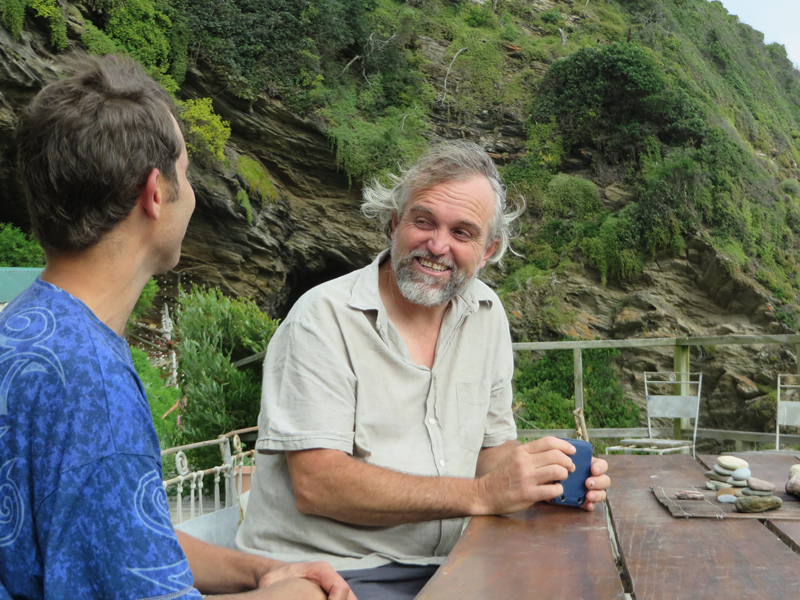David Johnstone, right, first came to the cave in 2008 and has lived with Clifford Brandon on and off for more than a year in total. Religion News Service photo by Brian Pellot