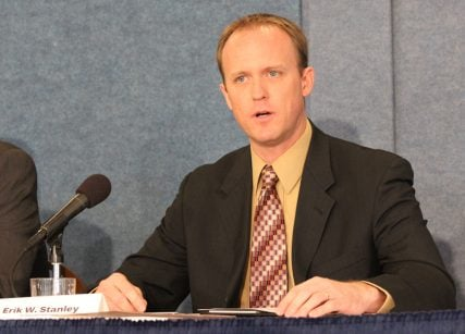Erik Stanley, a lawyer for Alliance Defending Freedom, about the need for legislative fixes for Internal Revenue Service policy at the National Press Club on Jan. 29, 2015. Religion News Service photo by Adelle M. Banks