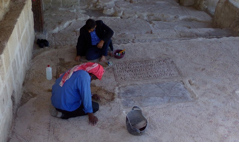 Workers carefully excavate ancient ruins on the Jordanian baptism site. Religion News Service photo by Dale Hanson Bourke