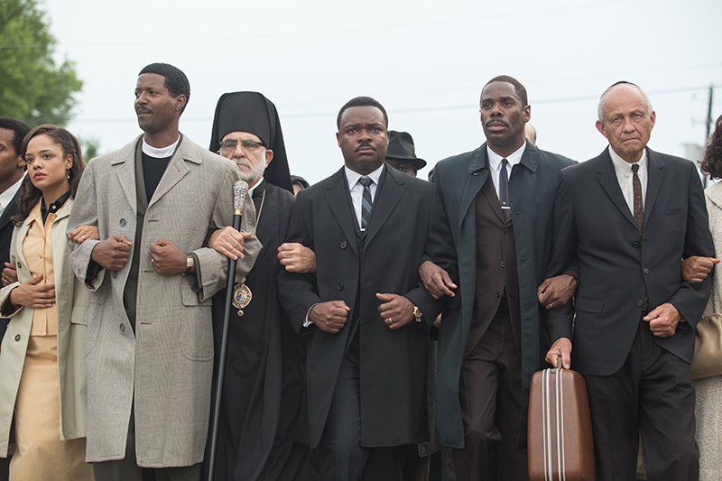 "Left to right, foreground: Tessa Thompson plays Diane Nash, Corey Reynolds plays Rev. C.T. Vivian, David Oyelowo plays Dr. Martin Luther King, Jr., and Colman Domingo plays Ralph Abernathy in ""Selma,"" from Paramount Pictures, Pathé, and Harpo Films. Photo courtesy of Paramount Pictures"