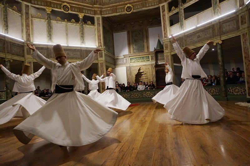 Whirling dervishes perform during a ceremony at Galata Mevlevihanesi. Religion News Service photo by Michael Kaplan