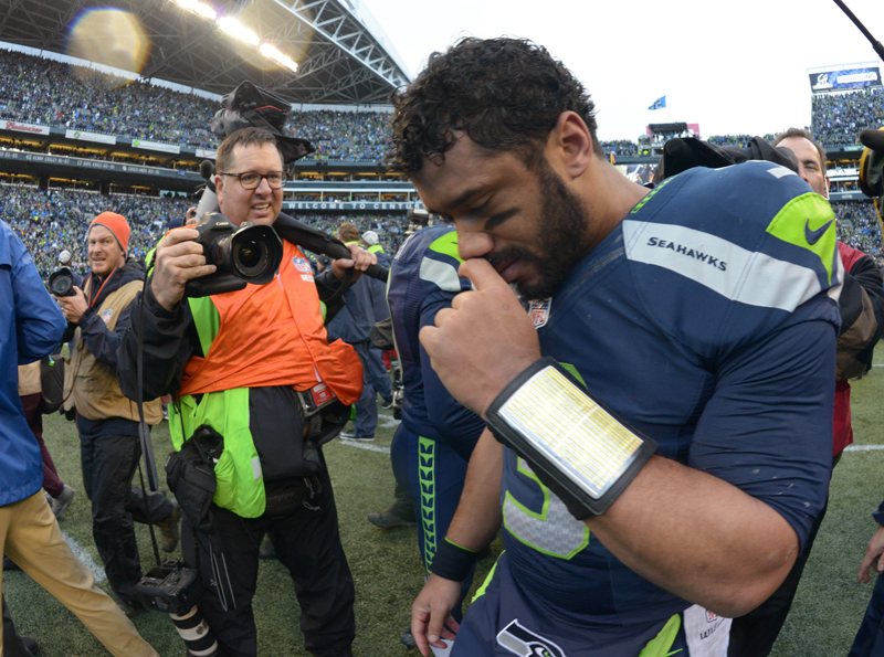 Seattle Seahawks quarterback Russell Wilson (3) celebrates following the overtime victory over the Green Bay Packers in the NFC Championship Game at CenturyLink Field. The Seahawks defeated the Packers 28-22 in overtime. Photo by Kirby Lee-USA TODAY Sports, courtesy of Reuters *Note: This photo may ONLY be used with RNS-SPORTS-RELIGION, which is to be published on January 22, 2015.