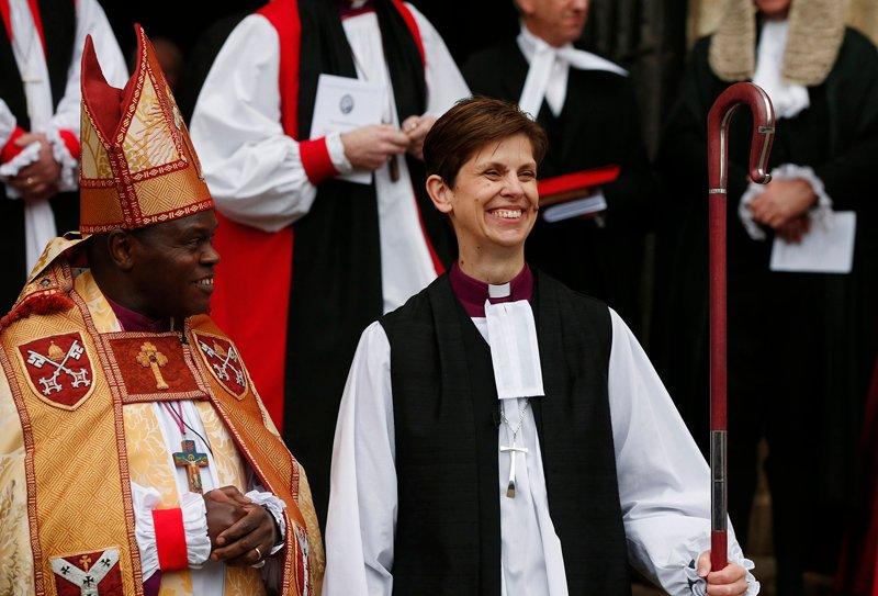 The first female bishop in the Church of England Libby Lane steps outside following her consecration service at York Minster in York, northern England on Monday (January 26, 2015). Photo courtesy of REUTERS/Phil Noble *Note: This photo may only be republished with RNS-WOMEN-ORDAIN, originally published on January 26, 2015