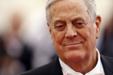 (RNS) Businessman David Koch arrives at the Metropolitan Museum of Art Costume Institute Gala Benefit on May 5, 2014. For use with RNS-KOCH-CATHOLICS, transmitted Jan. 30, 2015. Reuters photo by Carlo Allegri. * Eds: This Reuters photo can ONLY be used with RNS-KOCH-CATHOLICS.