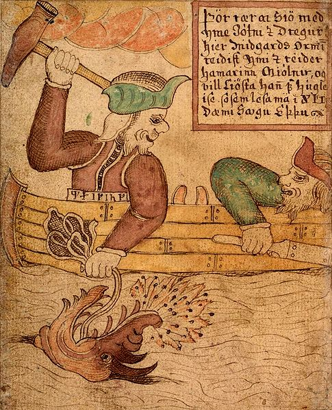 """A Norse mythology image from the 18th century Icelandic manuscript """"SÁM 66"""", now in the care of the Árni Magnússon Institute in Iceland."""