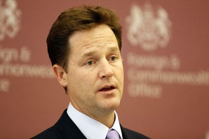 Deputy Prime Minister Nick Clegg speaking to UK based foreign diplomats at a briefing on the United Nations Summit on the Millennium Development Goals in London on  September 9, 2010.