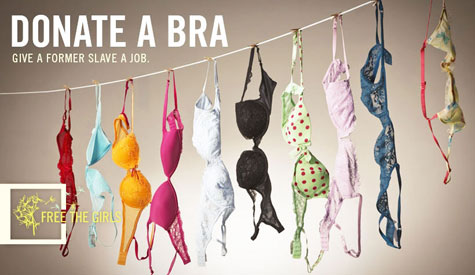 """Free the Girls"" uses advertisements like these to collect bra donations and give women jobs. - Image courtesy of Free the Girls"