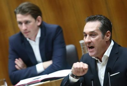 Head of the Freedom Party Heinz-Christian Strache delivers a speech in front of Foreign and Integration Minister Sebastian Kurz during a session of the parliament in Vienna February 25, 2015.  REUTERS/Heinz-Peter Bader