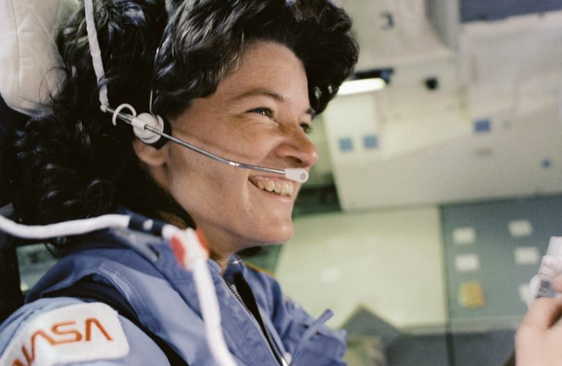Astronaut Sally Ride sits in the aft flight deck mission specialist's seat during de-orbit preparations in this NASA handout photo released June 18, 2013. Photo courtesy of  REUTERS/NASA/Handout via Reuters *Editors: This photo is not available to republish.