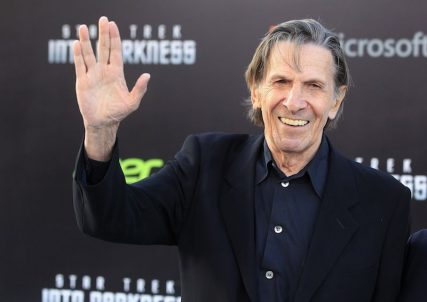 """Leonard Nimoy, cast member of the film """"Star Trek Into Darkness"""", poses as he arrives at the film's premiere in Hollywood in this May 14, 2013, file photo. Leonard Nimoy, the actor famous for playing the logical Mr. Spock on the television show """"Star Trek,"""" died Feb. 27, 2015 at age 83, REUTERS/Fred Prouser/Files."""
