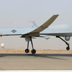 A predator drone takes off from Balad Air Base in Iraq.