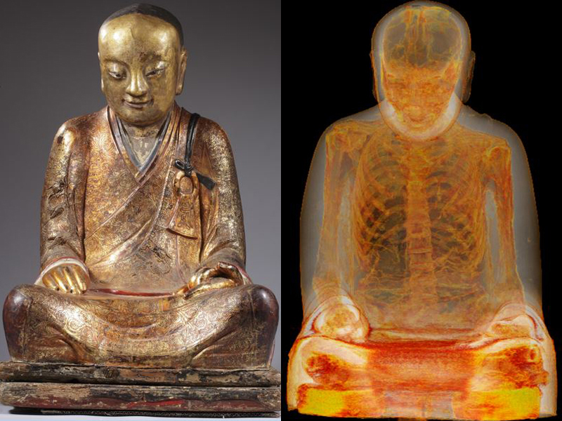 The Chinese Buddha statue containing remains of a monk who may have mummified himself. Photo courtesy of Drents Museum, USA Today