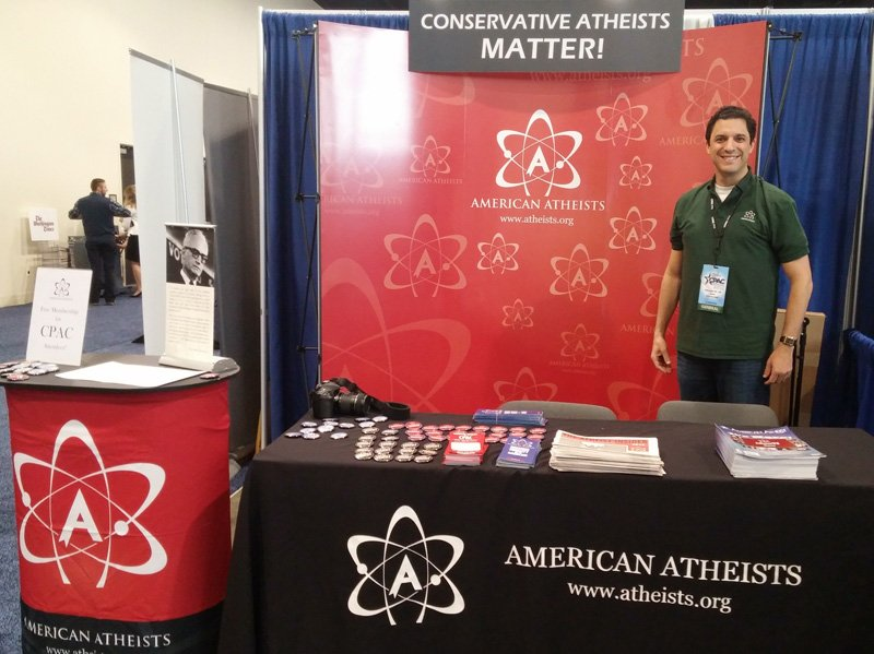 American Atheists president David Silverman stands at the American Atheist booth during the Conservative Political Action Conference on Thursday (Feb. 26, 2015). Photo courtesy of Danielle Muscato