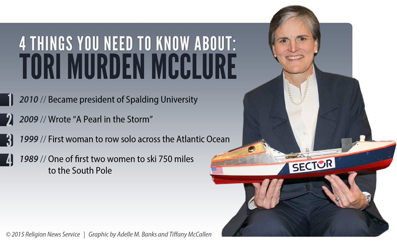 """""""4 Things You Need to Know About: Tori Murden McClure,"""" Religion News Service graphic by Tiffany McCallen"""