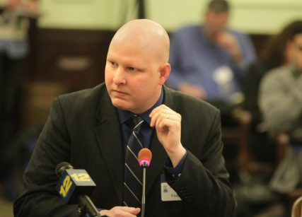 Christopher Doyle, of the International Healing Foundation, testifies during a hearing of the New Jersey Senate health committee at the Statehouse in Trenton. The committee heard testimony on a bill that would ban counseling services designed to turn gay kids straight. Photo by John O'Boyle/The Star-Ledger