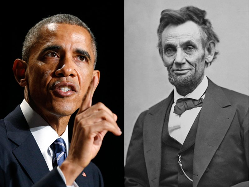 (Left) U.S. President Barack Obama speaks at the National Prayer Breakfast in Washington on Thursday (February 5, 2015). Photo courtesy of REUTERS/Kevin Lamarque (Right) Abraham Lincoln portrait. Photo courtesy of Everett Historical via Shutterstock