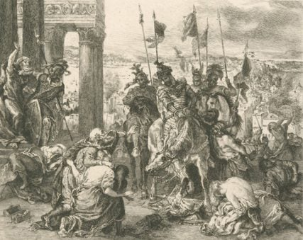 """(RNS) """"EntrŽe des croisŽs ˆ Constantinople,"""" by Eugene Delacroix, circa 1885-1889, depicts the Crusaders entering Constantinople. For use with RNS-CRUSADER-HISTORY, transmitted Feb. 6, 2015. Photo courtesy New York Public Library."""