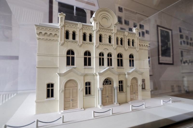 A model of the Great Choral Synagogue in Riga is pictured in the Ghetto museum in Riga. Decades after destruction by the Nazis, Latvia's lost synagogue heritage has been recreated in intricate model form as part of efforts to recapture and document the once rich Jewish life in the Baltic country. Picture courtesy REUTERS/Ints Kalnins.