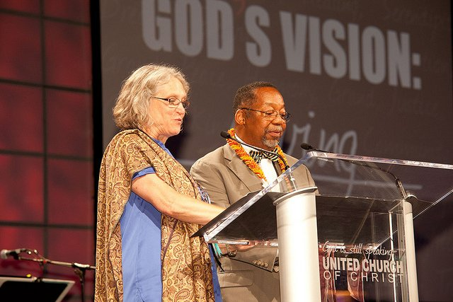 Rev. Dr. Sharon Watkins, left, and Rev. Geoffrey Black of the Christian Church (Disciples of Christ) offer a Litany of Response.