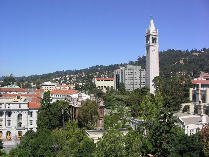 The campus of University of California, Berkeley in Berkeley, Calif., showing Sather Tower in addition to a number of other academic buildings.