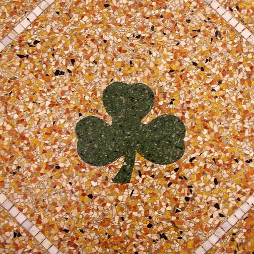 A shamrock in the floor of the Historic Church of Saint Patrick in Toledo, Ohio.