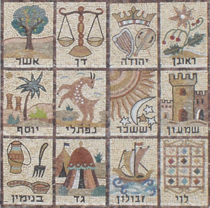 Mosaic of the 12 Tribes of Israel, from a synagogue wall in Jerusalem.