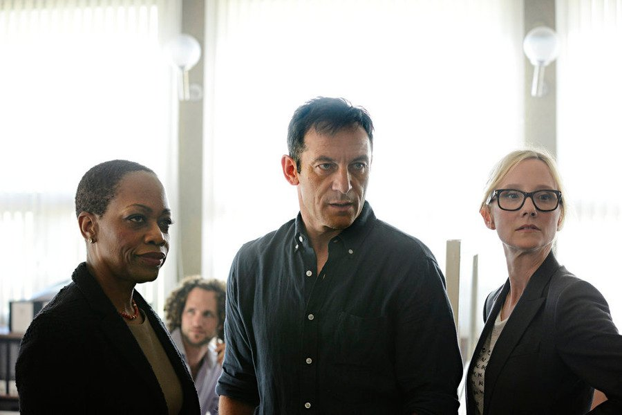 Left to right, Regina Taylor as Ruth Ridell, Jason Isaacs as Peter Connelly, and Anne Heche as Lynn Monahan in season 1 of DIG. Photo by Ronen Akerman/USA Network