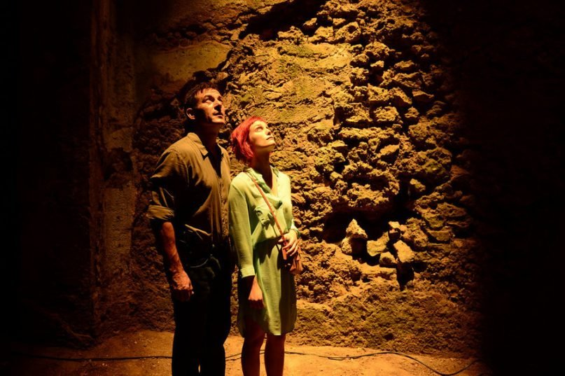 Left, Jason Isaacs as Peter Connelly, and Alison Sudol as Emma Wilson in the first season of